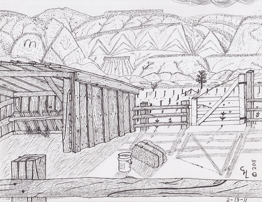 Landscape Drawing - Shed 3 by Clark Letellier