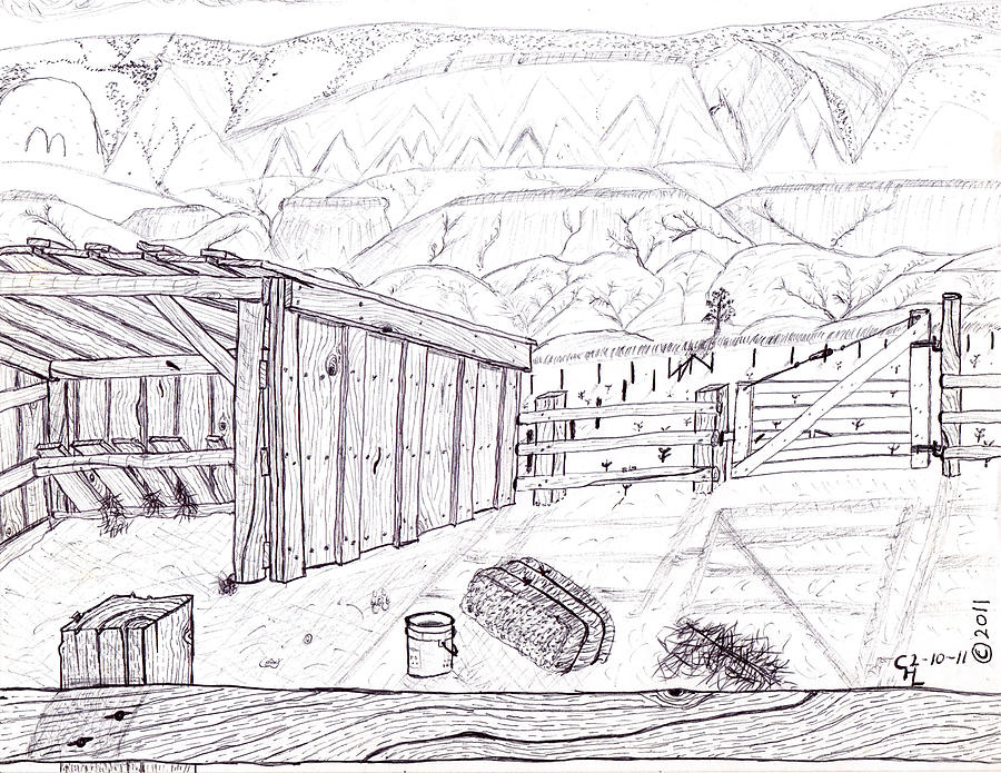 Landscape Drawing - Shed 4 by Clark Letellier
