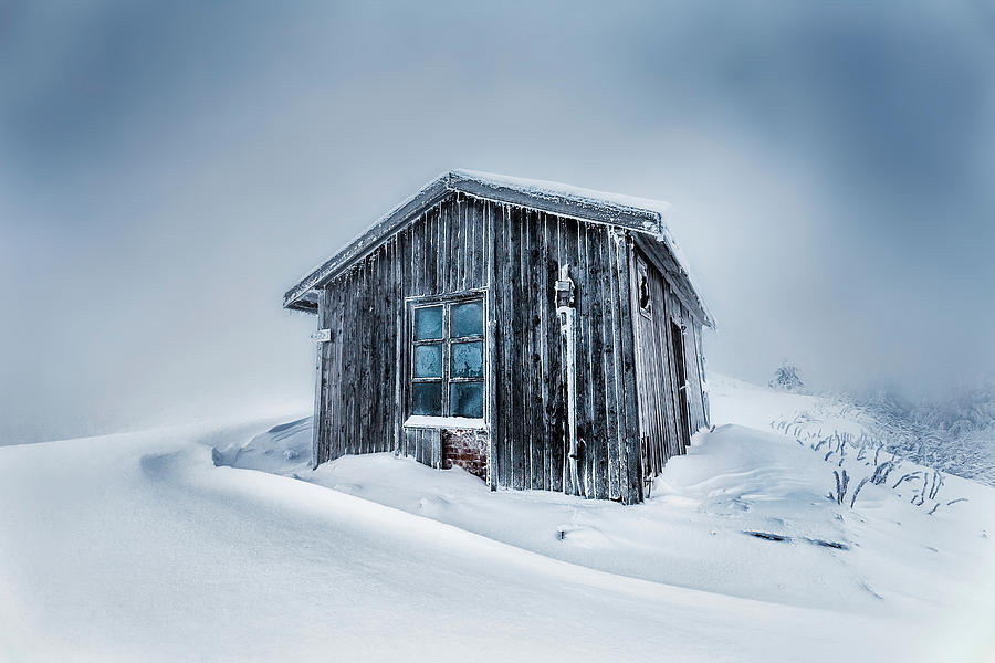 Balkan Mountains Photograph - Shed In The Blizzard by Evgeni Dinev