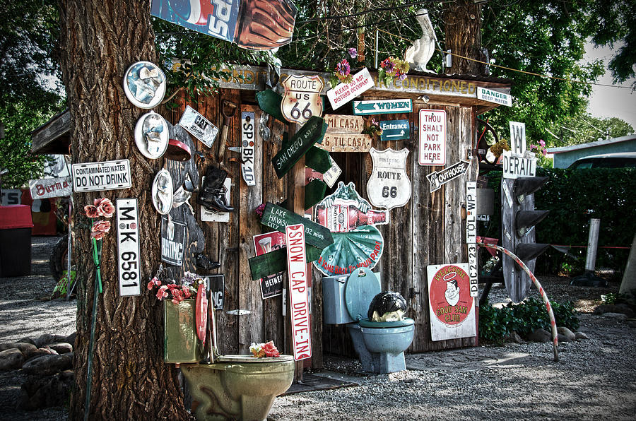 Shed Photograph - Shed Toilet Bowls And Plaques In Seligman by RicardMN Photography