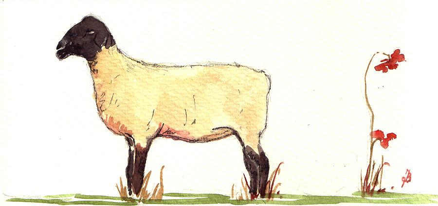 Sheep Painting - Sheep black white by Juan  Bosco