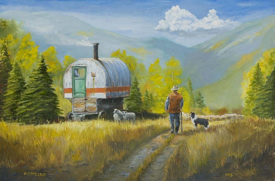 Sheep Painting - Sheep Camp by Jerry McElroy