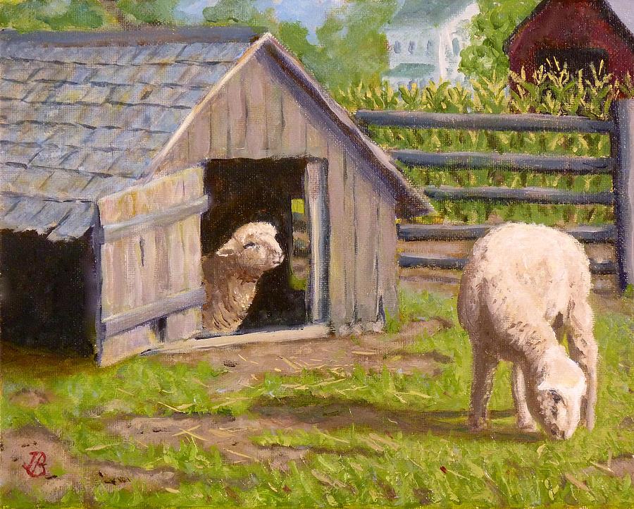 Sheep Painting - Sheep House by Joe Bergholm