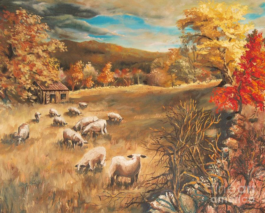 Oil Painting Painting - Sheep In Octobers Field by Joy Nichols