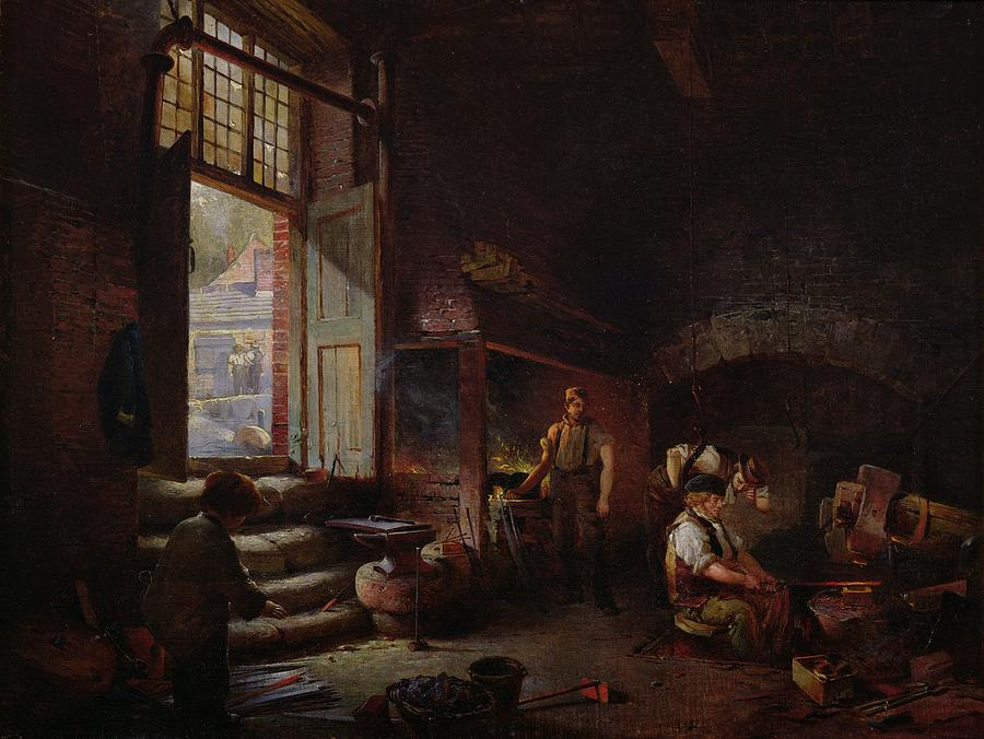 Furnace Painting - Sheffield Scythe Tilters by Godfrey Sykes