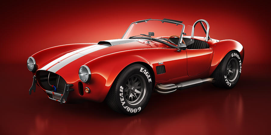 Transportation Digital Art - Shelby Cobra 427 - Bloodshot by Marc Orphanos