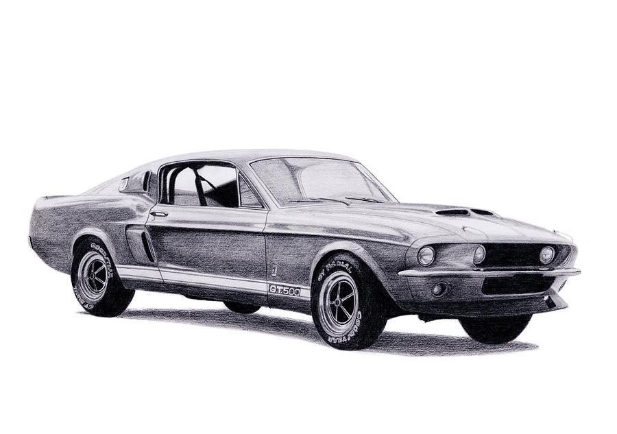 Car Drawing - Shelby Gt500 by Milan Surkala