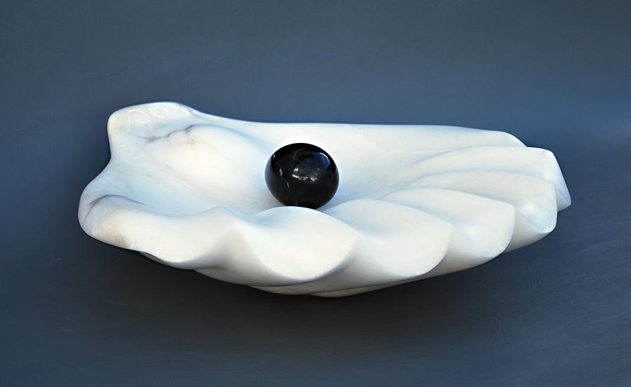 Shell Sculpture - Shell And Pearl by Leslie Dycke