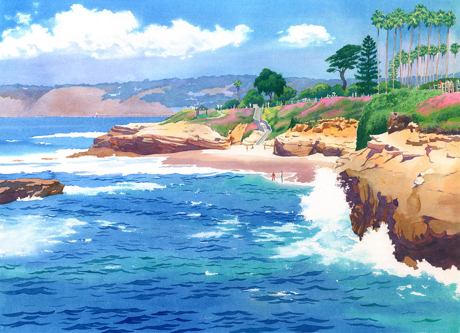 La Jolla Painting - Shell Beach La Jolla by Mary Helmreich