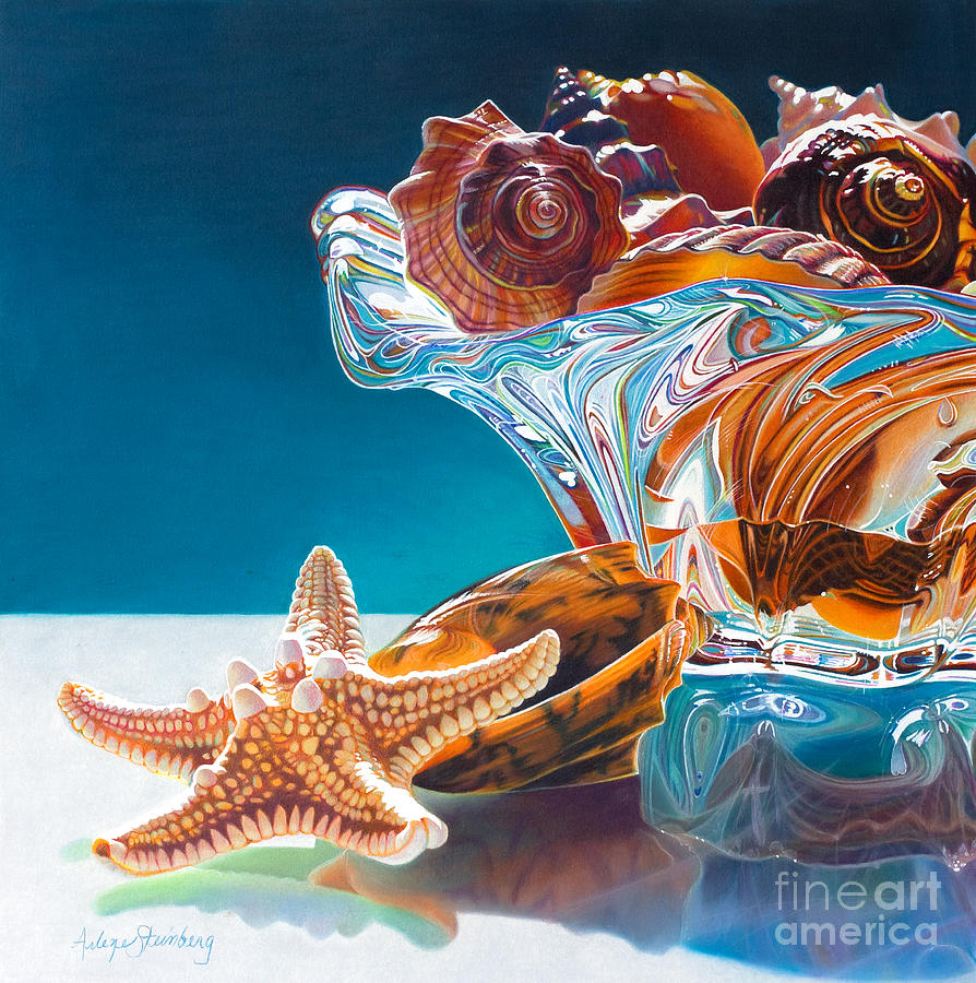 Still Life Painting - Shell Shocked by Arlene Steinberg