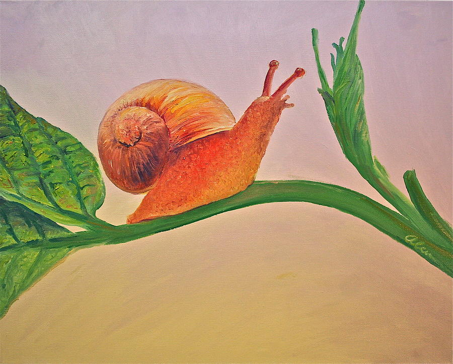 Snail Painting - Shelly the Snail by Alan Schwartz