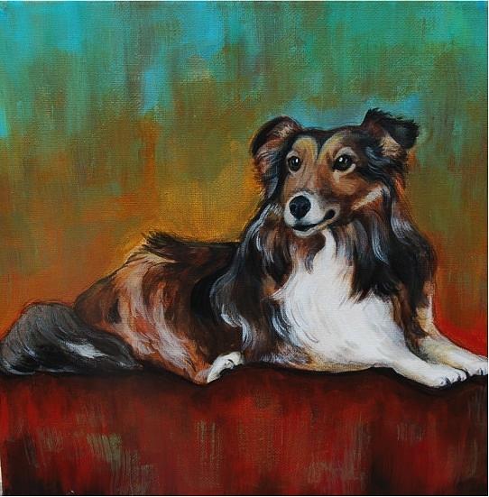 Custom Pet Painting Painting - Sheltie Portrait Meets Abstract by Lauren Hammack