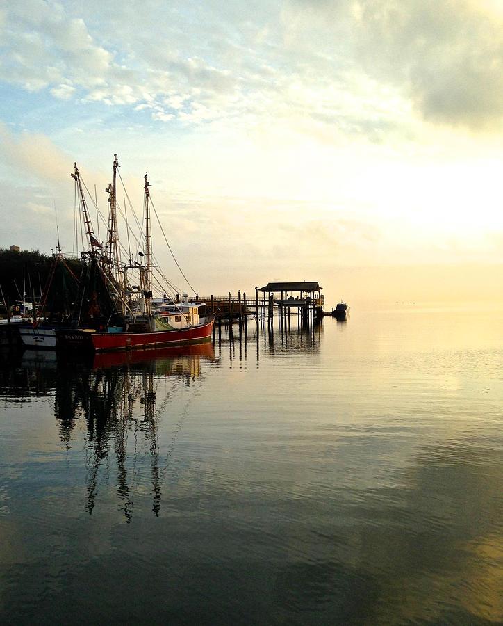 Shrimp Boat On Shem Creek In Charleston Photograph - Shem Creek Red Boat by Lori Kesten