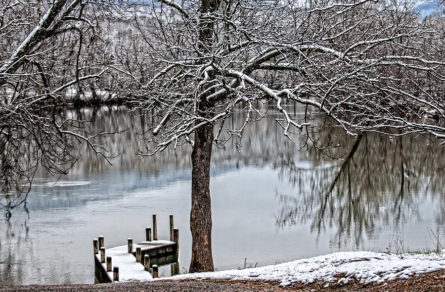 Painterly Shenandoah River Photograph - Shenandoah Winter Serenity by Lara Ellis