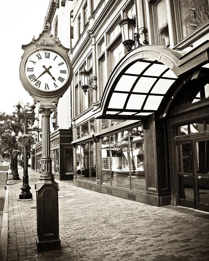 Providence Rhode Island Beaches: Shepard Clock In Providence Rhode Island In Sepia