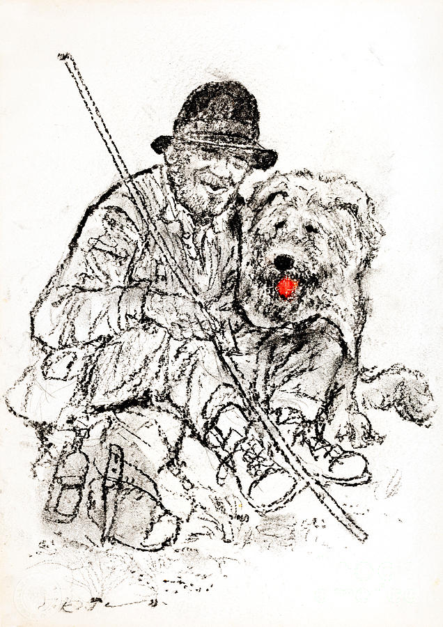 Shepherd Drawing - Shepherd With Dog by Kurt Tessmann