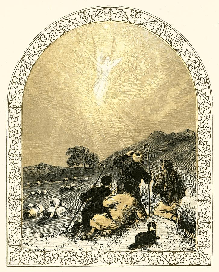 Xmas Painting - Shepherds And Angel by Miles Birkett Foster