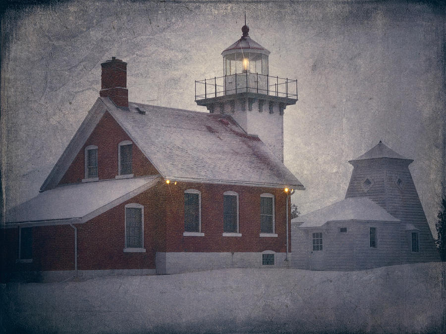 Snow Photograph - Sherwood Point Light by Joan Carroll