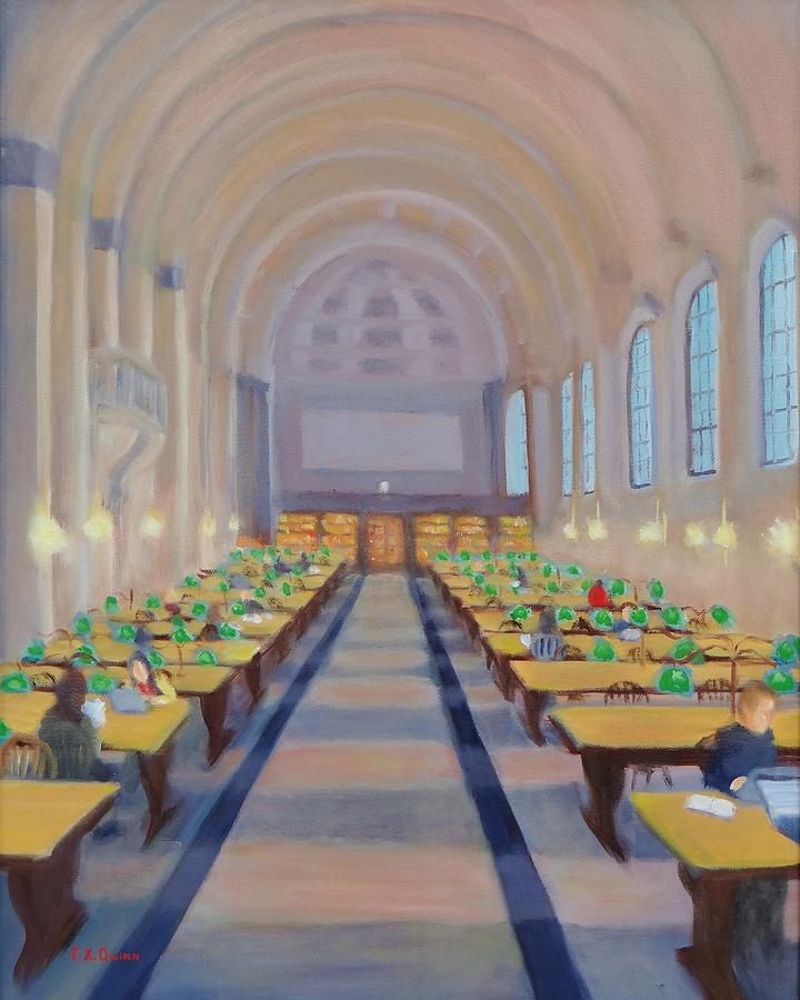 Boston Public Library Painting - Shh Bates Reading Room by Frank Quinn