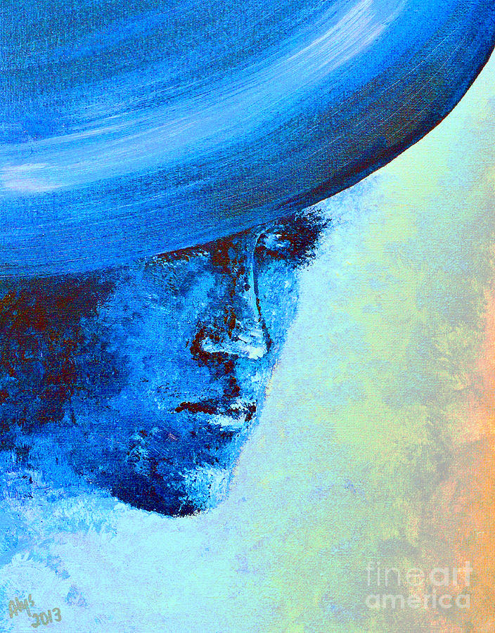 Princess Diana Digital Art - Shi Di Has The Blues Poster by Alys Caviness-Gober
