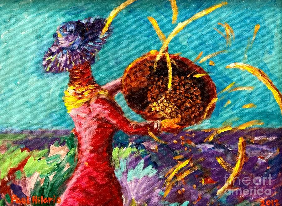 Rice Painting - Shield Your Eyes by Paul Hilario