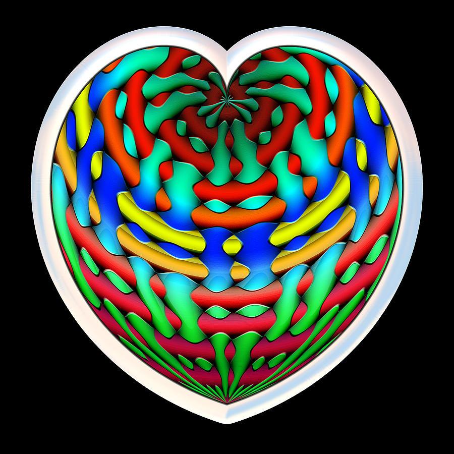 Heart Digital Art - Shielded - Silver by Wendy J St Christopher