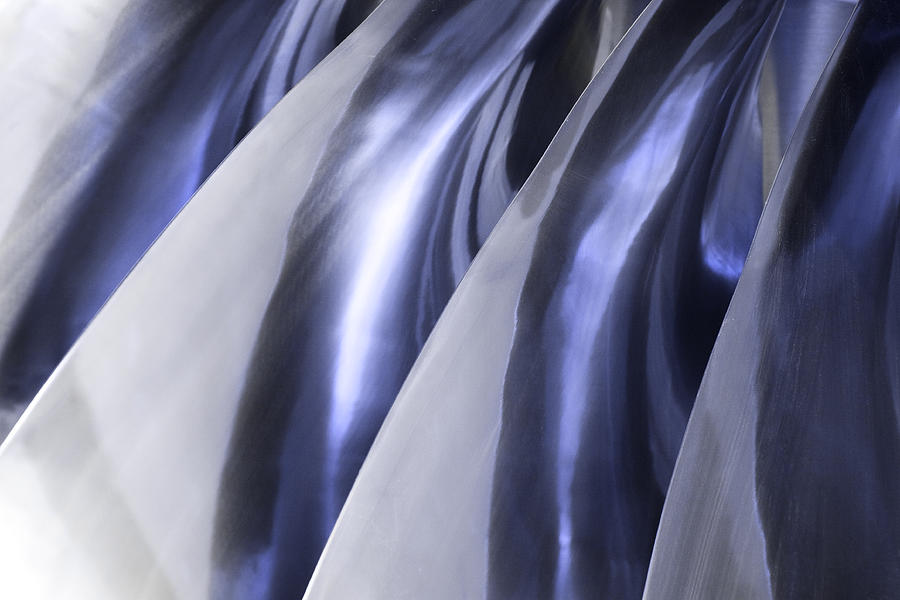 Abstract Photograph - Shine On Metal - Blue Tones by Natalie Kinnear