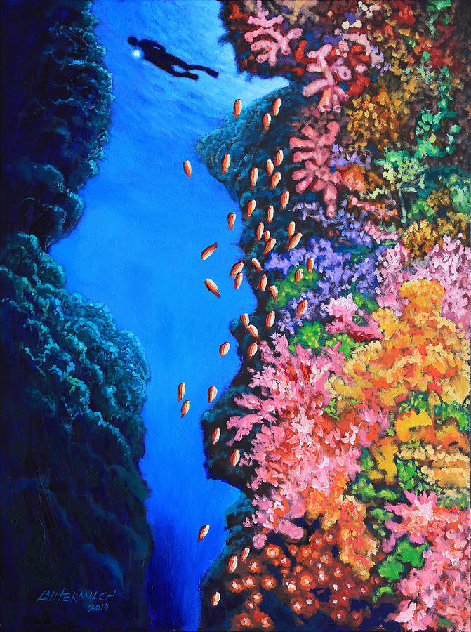 Ocean Painting - Shining a Light on the Mystery by John Lautermilch