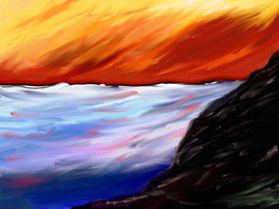 Seascape Painting - Shining Sea - Abstract Art by Eliza Donovan
