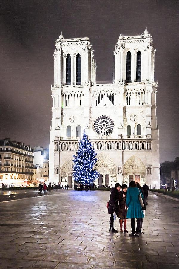 Paris Photograph - Shining Star - Notre Dame De Paris At Night by Mark E Tisdale
