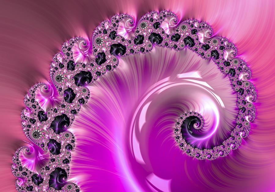 Shiny Pink Fractal Spiral Digital Art By Matthias Hauser