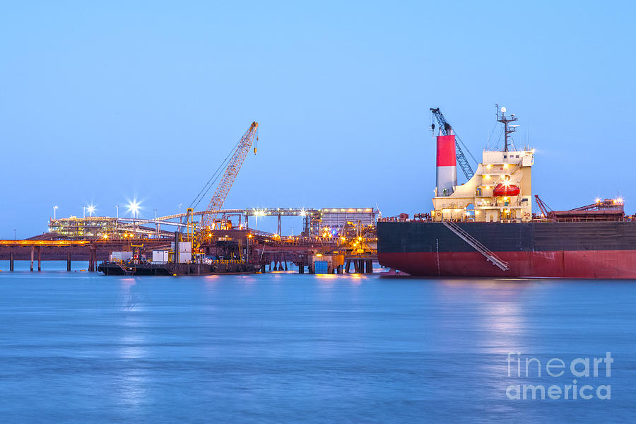 Australia Photograph - Ship And Port At Twilight by Colin and Linda McKie