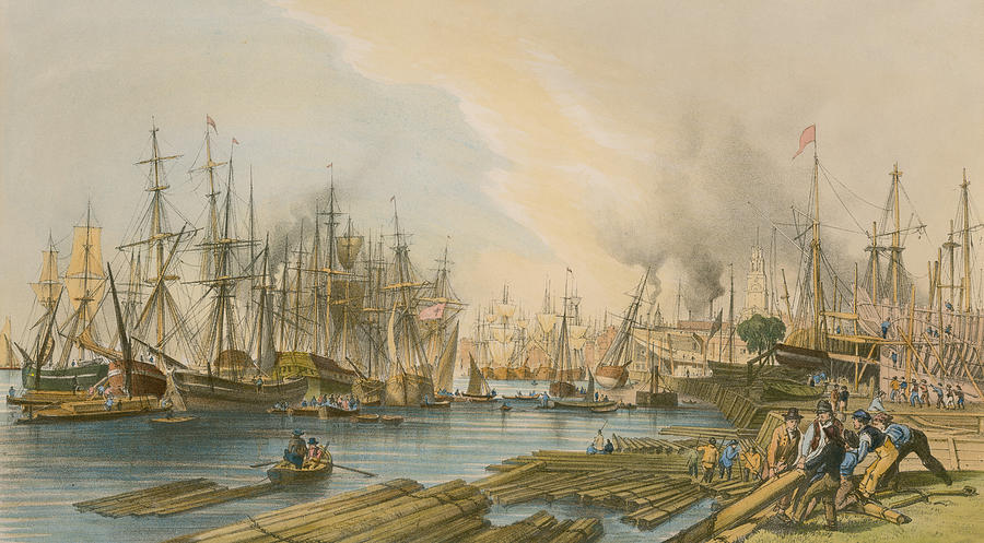 Boat Painting - Ship Building At Limehouse by William Parrot
