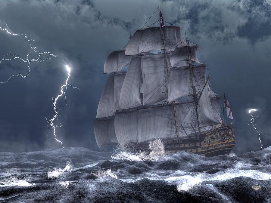 Ship In A Storm Digital Art By Daniel Eskridge