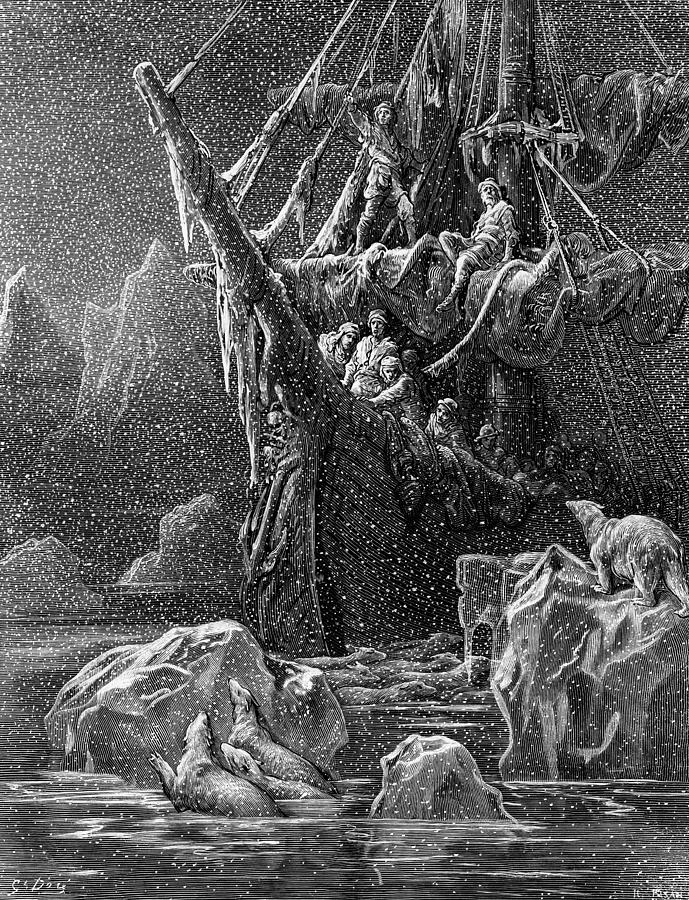 Gustave Drawing - Ship In Antartica by Gustave Dore