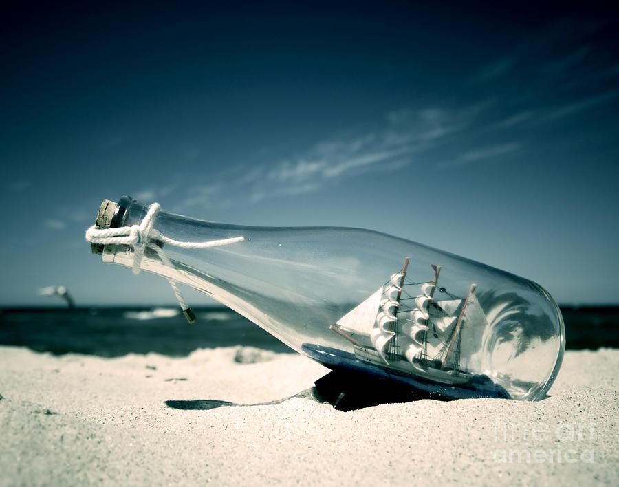 Ashore Photograph - Ship In The Bottle by Michal Bednarek