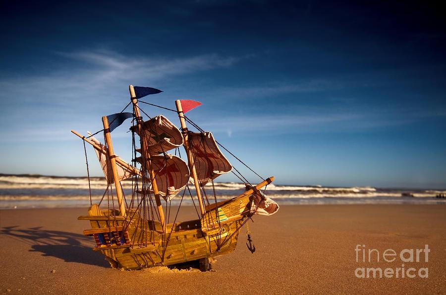 Beach Photograph - Ship Model On Summer Sunny Beach by Michal Bednarek