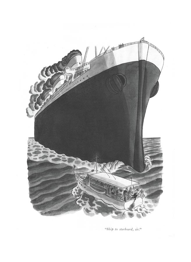 Ship To Starboard Drawing by Robert J Day