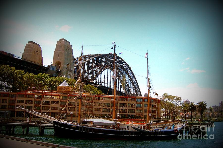 Sydney Photograph - Ship Under Sydney Bridge by John Potts