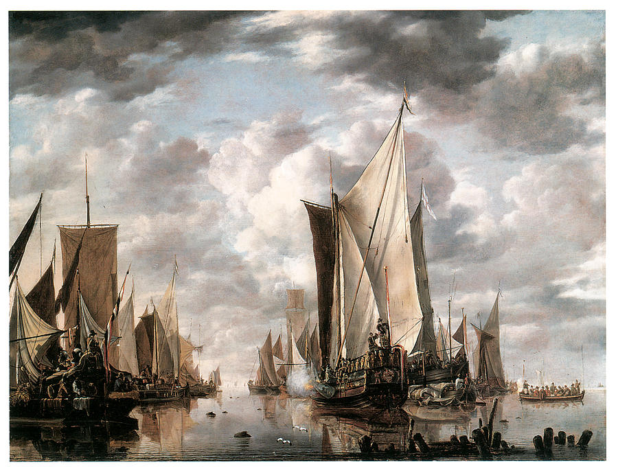 Jan Van De Cappelle Painting - Shipping In A Calm At Flushing Wiht A States General Yacht Firing A Salute by Jan van de Cappelle