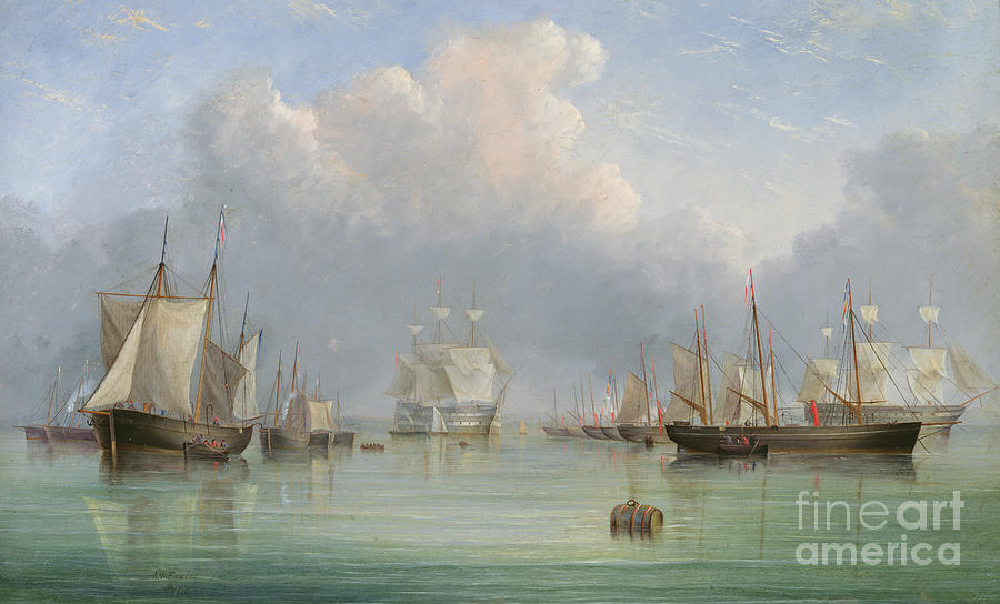 Port Painting - Ships Off Ryde by Arthur Wellington Fowles