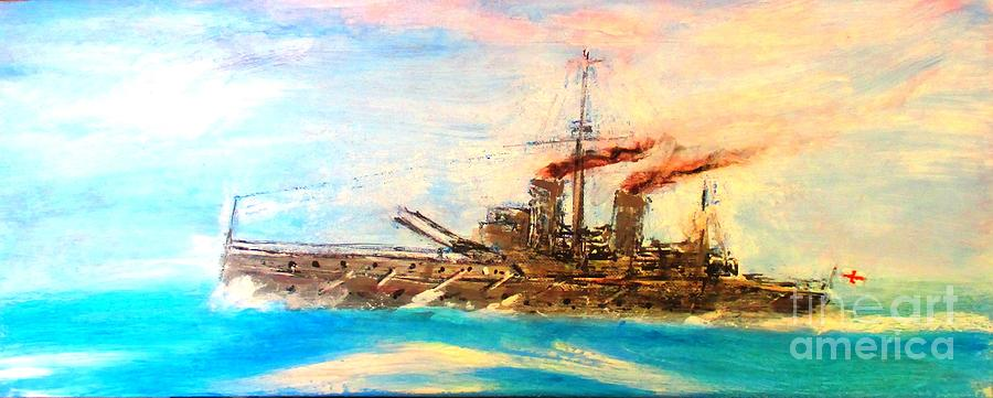 Ships Portrait - Hms Dreadnought 1908 Painting by Marco Macelli
