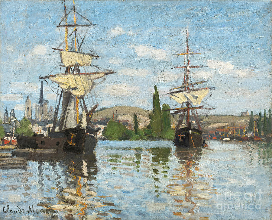 Boats Painting - Ships Riding On The Seine At Rouen by Claude Monet