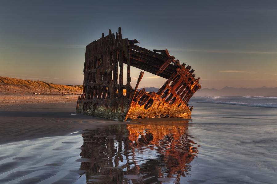 Beach Photograph - Shipwreck At Sunset by Mark Kiver