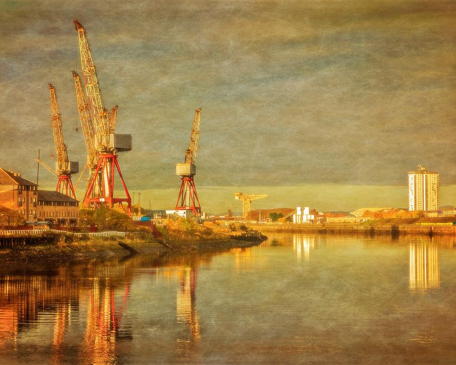 Glasgow Photograph - Shipyard On The River Clyde In Scotland by Tylie Duff