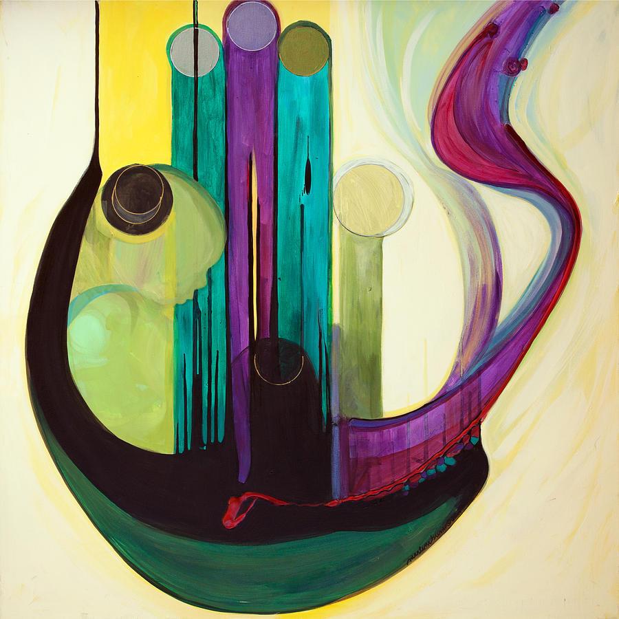 Judaic Painting - Shir Lamaalot Psalm 121 by Marlene Burns
