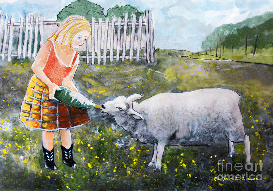Lamb Painting - Shirley And Curly by Barbara McMahon