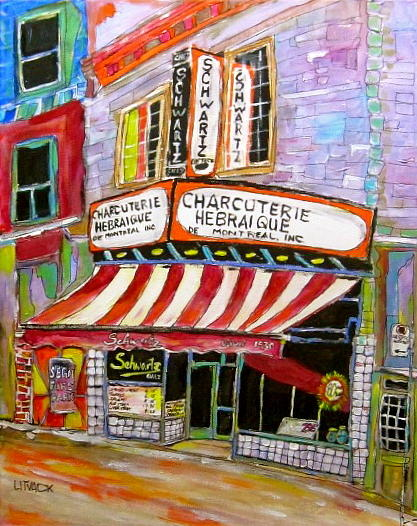 Schwartz's Deli Painting - Shirleys Schwartzs  by Michael Litvack