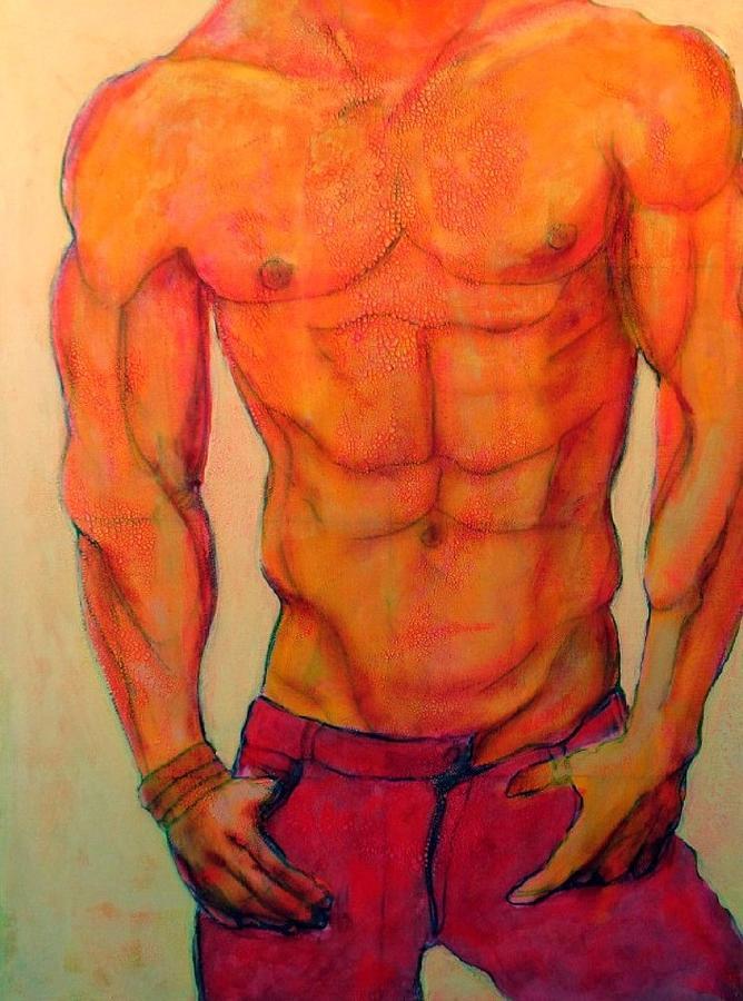 Acrylic Painting - Shirtless Man by Craig  Bruce