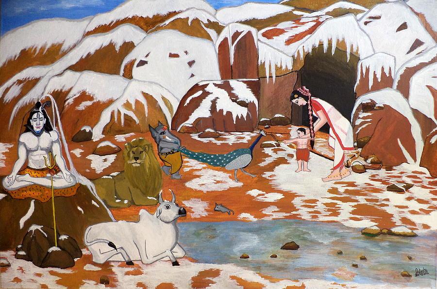Shiva Painting - Shiva And His Family by Pratyasha Nithin